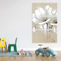 Canvas 40 x 60 - White abstract wild flowers
