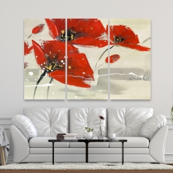 Canvas 40 x 60 - Abstract red flowers in the wind