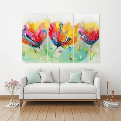 Canvas 40 x 60 - Four colorful flowers