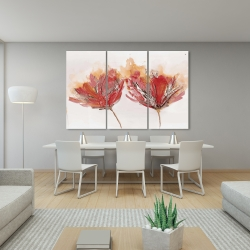 Canvas 40 x 60 - Crimson flowers and butterfly