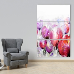 Canvas 40 x 60 - Pink tulips field