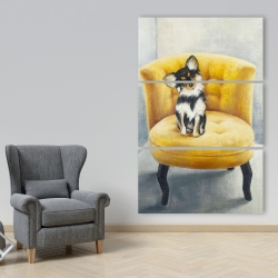 Canvas 40 x 60 - Long-haired chihuahua on a yellow armchair