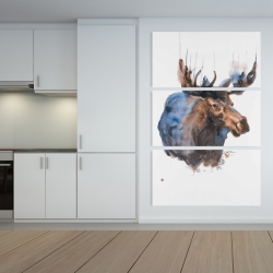 Canvas 40 x 60 - Abstract blue moose