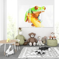 Canvas 40 x 60 - Curious red eyed frog