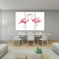 Canvas 40 x 60 - Two pink flamingo watercolor