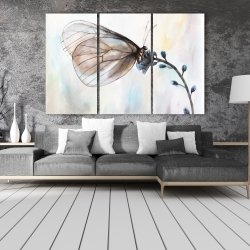 Canvas 40 x 60 - Butterfly on blue flowers