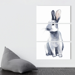Canvas 40 x 60 - Gray curious rabbit