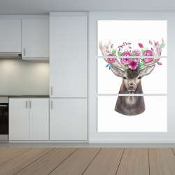 Canvas 40 x 60 - Deer head with flowers