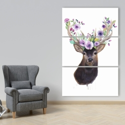 Canvas 40 x 60 - Roe deer head with flowers