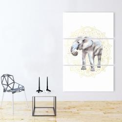 Canvas 40 x 60 - Elephant on mandalas pattern