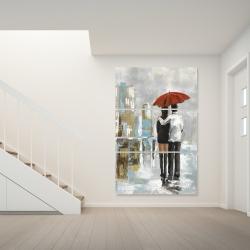 Canvas 40 x 60 - Couple walking under their umbrella