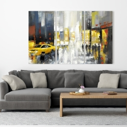 Canvas 40 x 60 - Rainy busy street