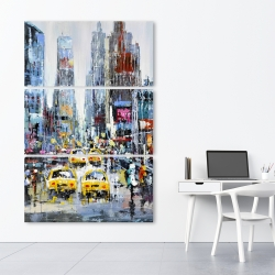 Canvas 40 x 60 - Urban scene with yellow taxis