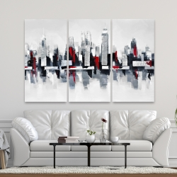 Canvas 40 x 60 - Gray and red cityscape
