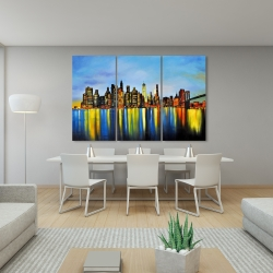 Canvas 40 x 60 - City by night with a bridge