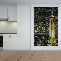 Canvas 40 x 60 - Gold city blue print