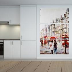Canvas 40 x 60 - European street by a rainy day