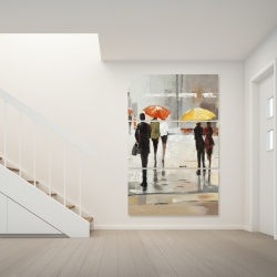 Canvas 40 x 60 - Abstract passersby with umbrellas