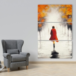 Canvas 40 x 60 - Woman with a red coat by fall