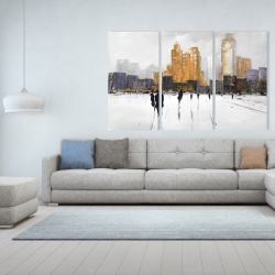 Canvas 40 x 60 - Silhouettes walking towards the city