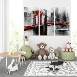 Canvas 40 x 60 - Abstract and red brooklyn bridge