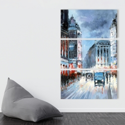 Canvas 40 x 60 - Abstract red and blue city