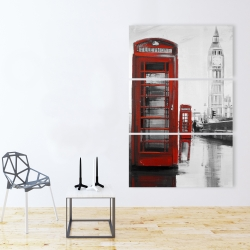 Canvas 40 x 60 - Red phonebooth with the big ben