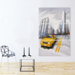 Canvas 40 x 60 - Yellow taxi and city sketch