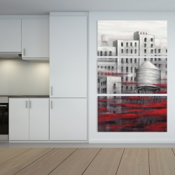 Canvas 40 x 60 - Gray city with red clouds