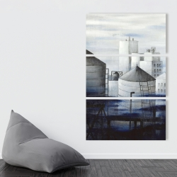 Canvas 40 x 60 - Gray city with blue clouds
