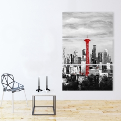 Canvas 40 x 60 - Space needle in red