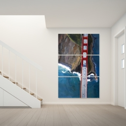 Canvas 40 x 60 - Overhead view of the golden gate and mountains