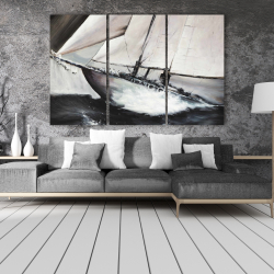 Canvas 40 x 60 - Boat in a violent storm