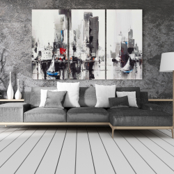 Canvas 40 x 60 - Abstract boats with cityscape
