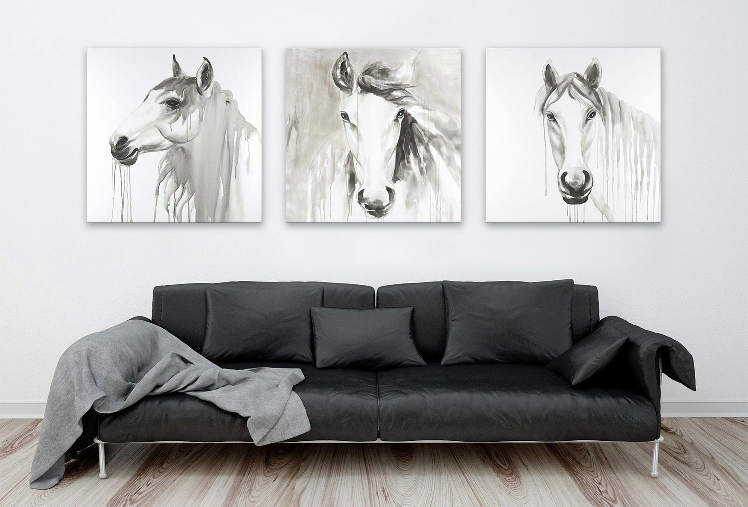 Abstract horses wall art livingroom decor