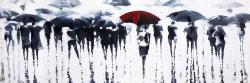 Silhouettes abstraites sous la pluie