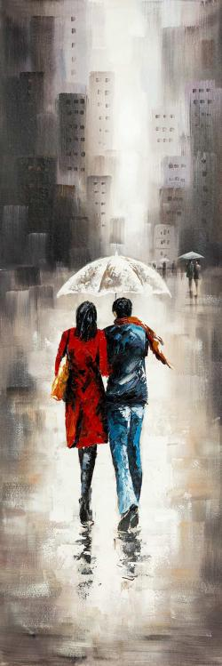 Quiet walk in couple in the rain