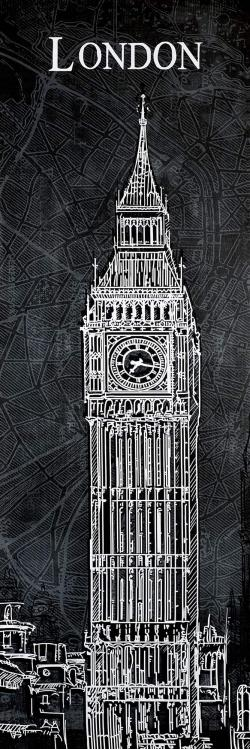 Big ben sketch with a map in background
