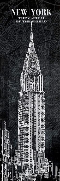 Chrystler tower sketch with a map in background
