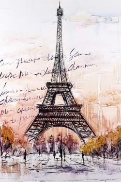 Eiffel tower sketch with an handwritten message