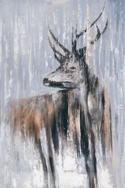 Deer in the forest by a rainy day