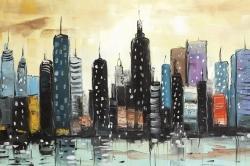 Skyline on abstract cityscape