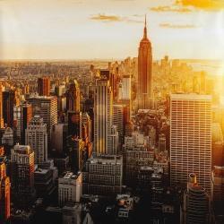 Ville de new york au couché du soleil