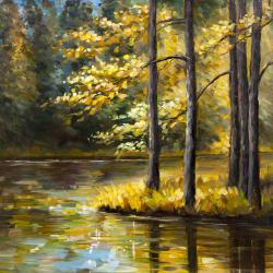 Fall landscape by the water