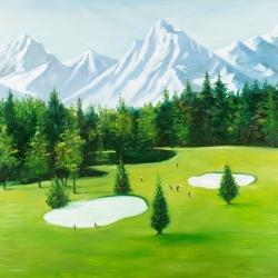 Golf course with mountains view