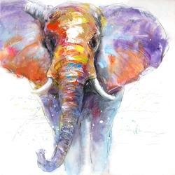 Colorful walking elephant