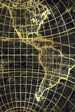 Black and marine world map globe