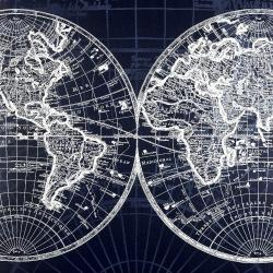 World map blue print