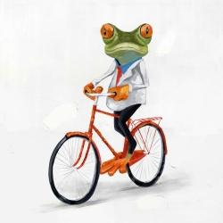 Funny frog riding a bike