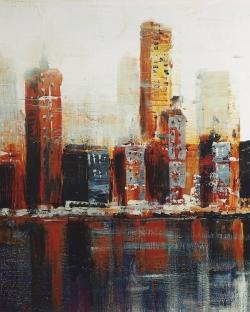 Abstract red cityscape
